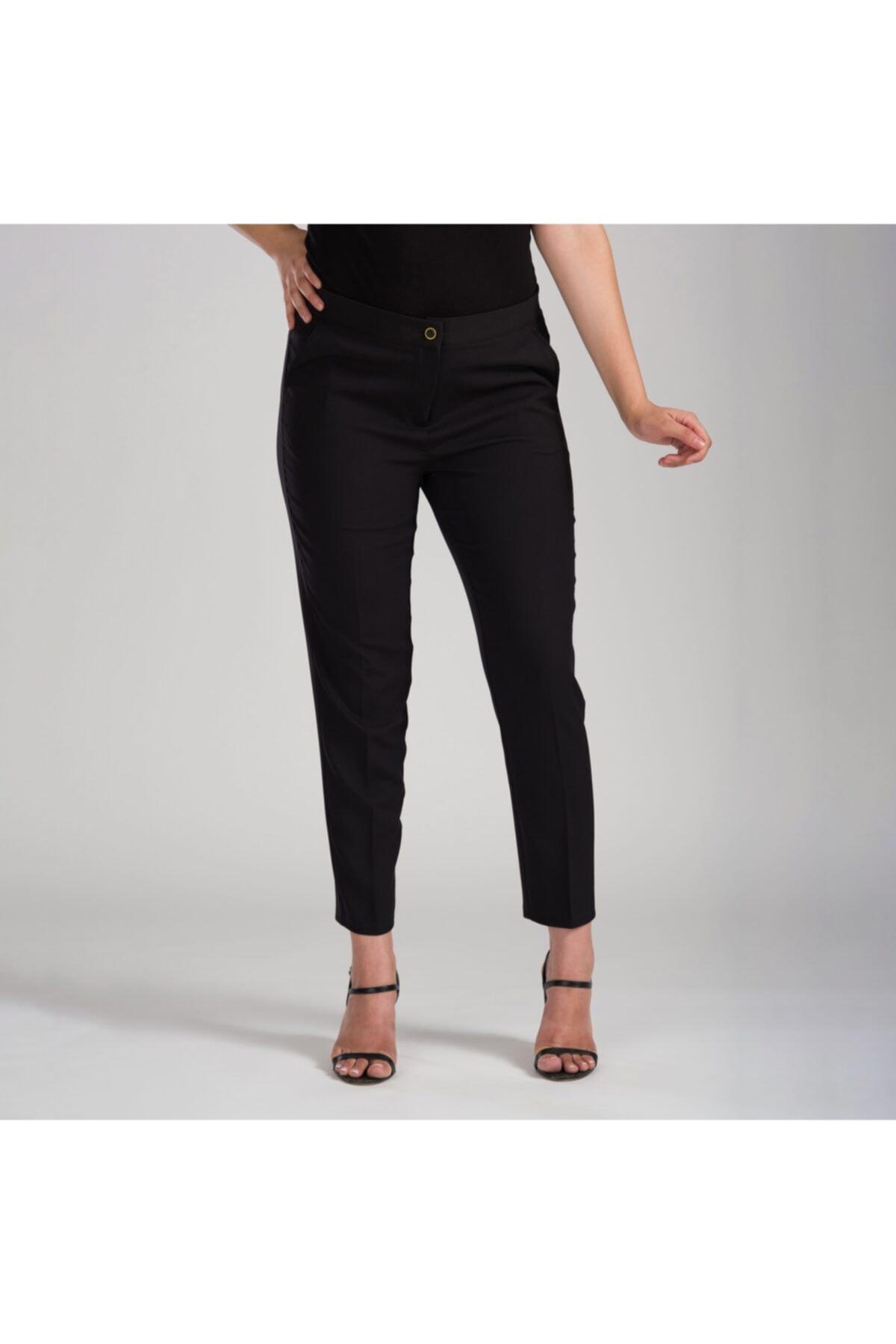 MODAMAİSA Kadın Siyah Dar Bilek Pantolon 2