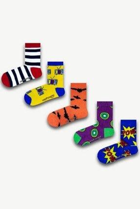 Neşeli Çoraplar Unisex Çocuk Beyaz Çorap Set5 5'li