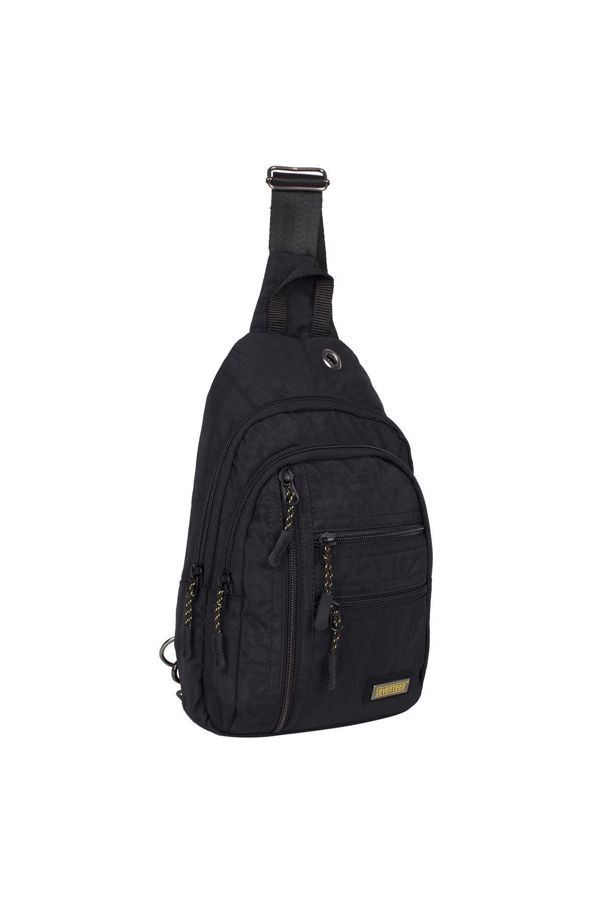 Bagacar Unisex Siyah Kumaş Çapraz Göğüs Body Bag Ve Sırt Çantası 2