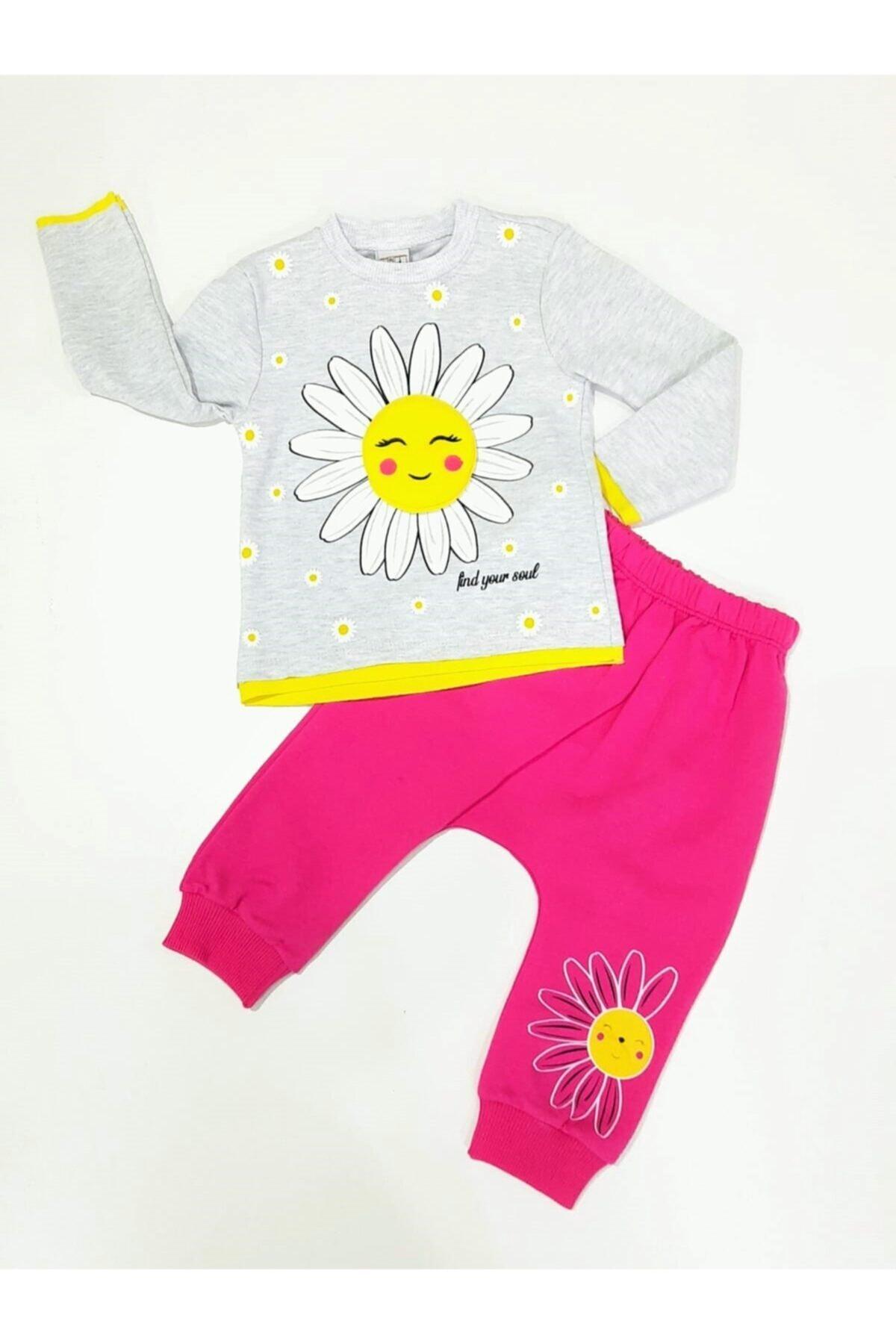 Crazy Baby Kız Çocuk Fuşya Papatya Baskılı  Alt Üst Takım 1