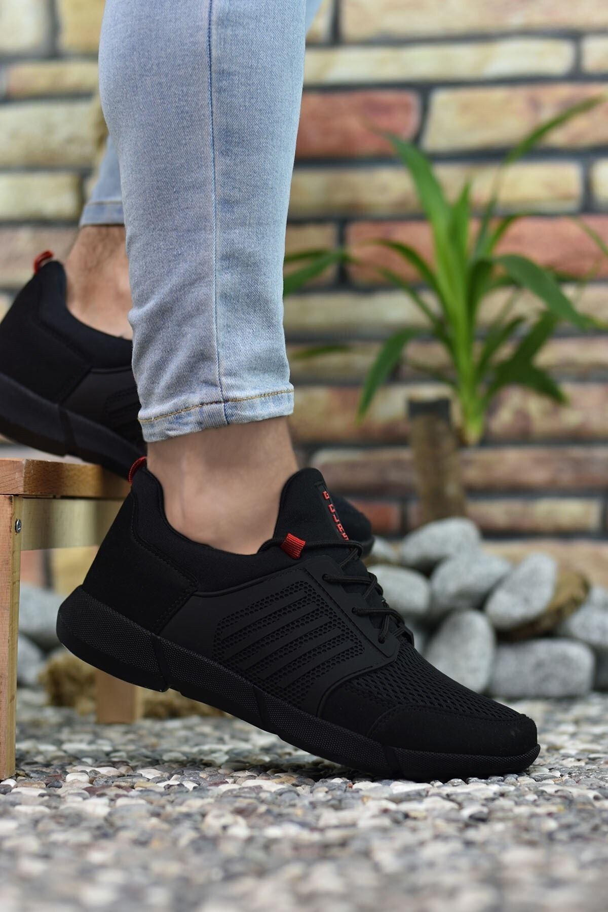 Riccon Erkek Siyah Kırmızı  Sneaker 0012105 1