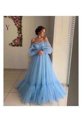 Ahsenserra Kadın Mavi Tül Detaylı Oihane Tasarım Abiye
