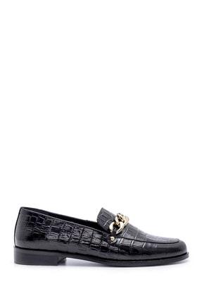 Derimod Kadın Siyah Deri Kroko Desenli Loafer Ayakkabı