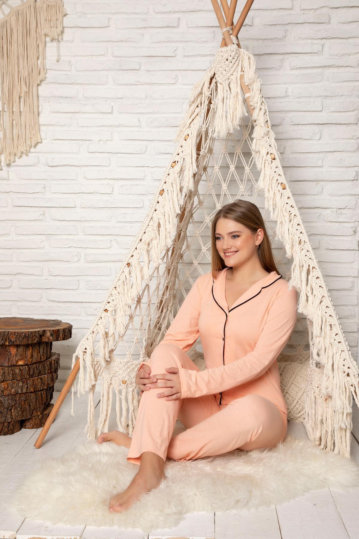 STRAWBERRY Kadın Somon Pamuklu Düğmeli Pijama Takim