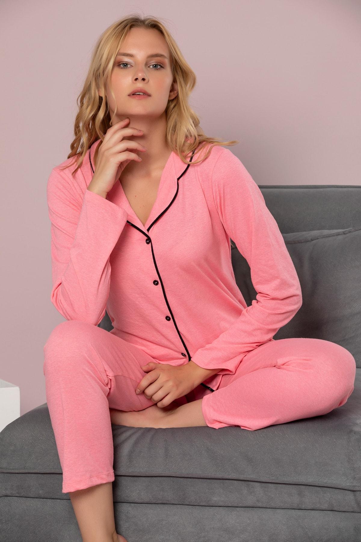 STRAWBERRY Kadın Nar Çiçeği Pamuklu Düğmeli Pijama Takim