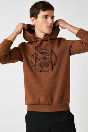 Koton Erkek Kahverengi Kapüşonlu Sweatshirt 1KAM71098DK