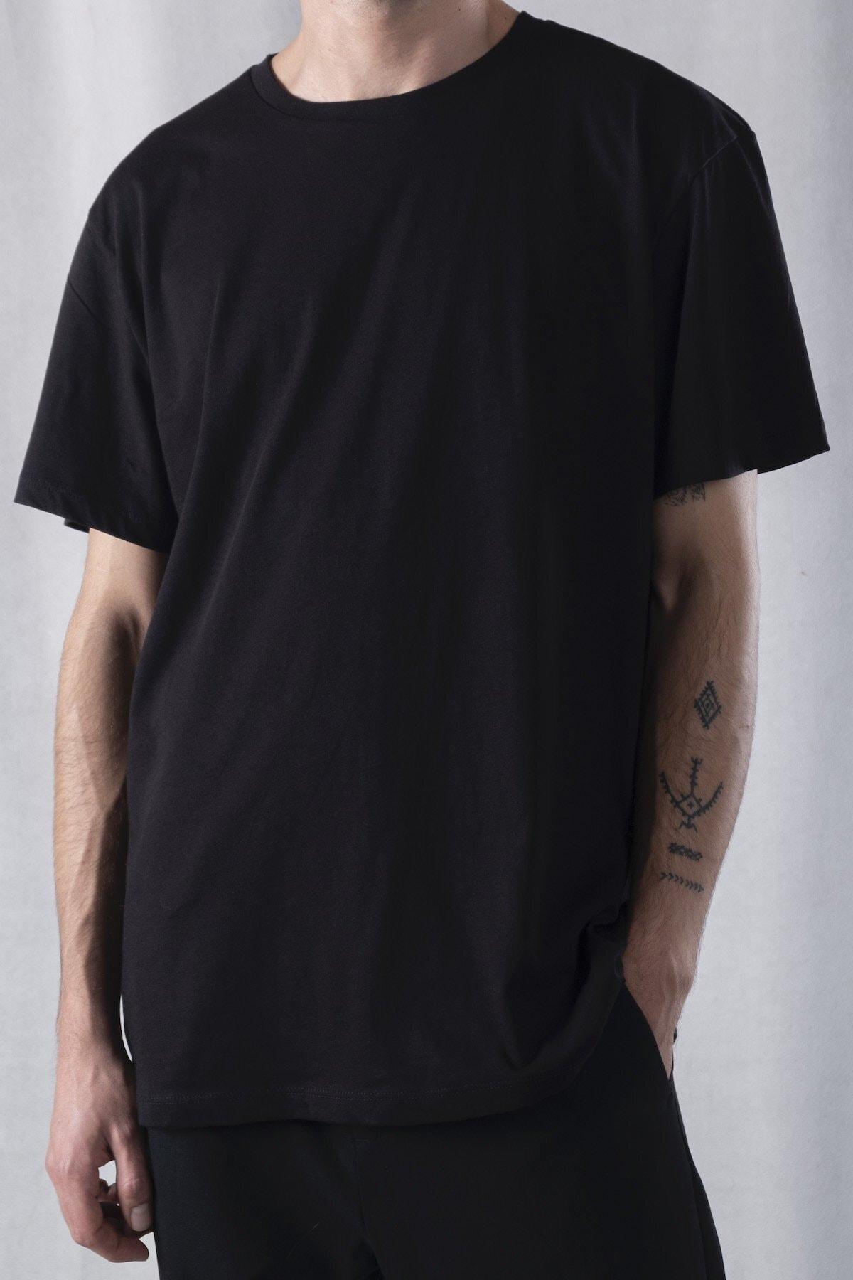 tinbasic Erkek Siyah Sırt Detaylı %100 Pamuk Örmek Bisiklet Yaka Oversize T-shirt 2