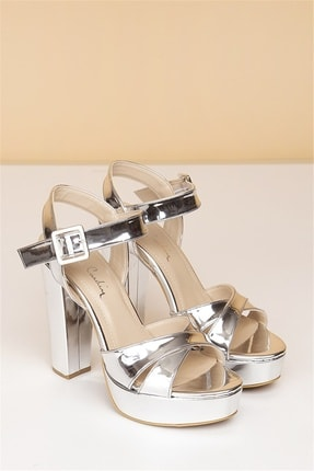 Pierre Cardin Kadın Gümüş Rugan Topuklu Ayakkabı Pc-50165