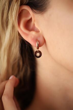İzla Design Kutup Yıldızı Model Rose Kaplama Gümüş Italyan Küpe