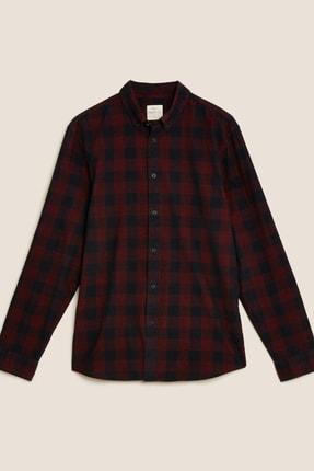 Marks & Spencer Erkek Kırmızı Saf Pamuklu Kadife Ekose Gömlek T25001078M
