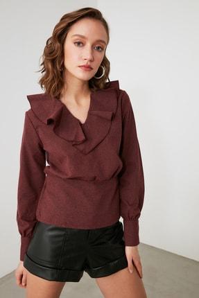 TRENDYOLMİLLA Bordo Volanlı Bluz TWOAW21BZ1500