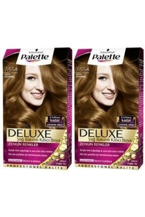 SCHWARZKOPF HAIR MASCARA Palette Deluxe 7-554 Altın Karamel X 2 Saç Boyası 50 Ml