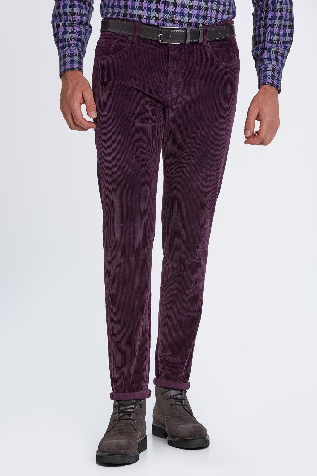 Hemington Erkek Koyu Mor Slim Fit Kadife Pantolon 1