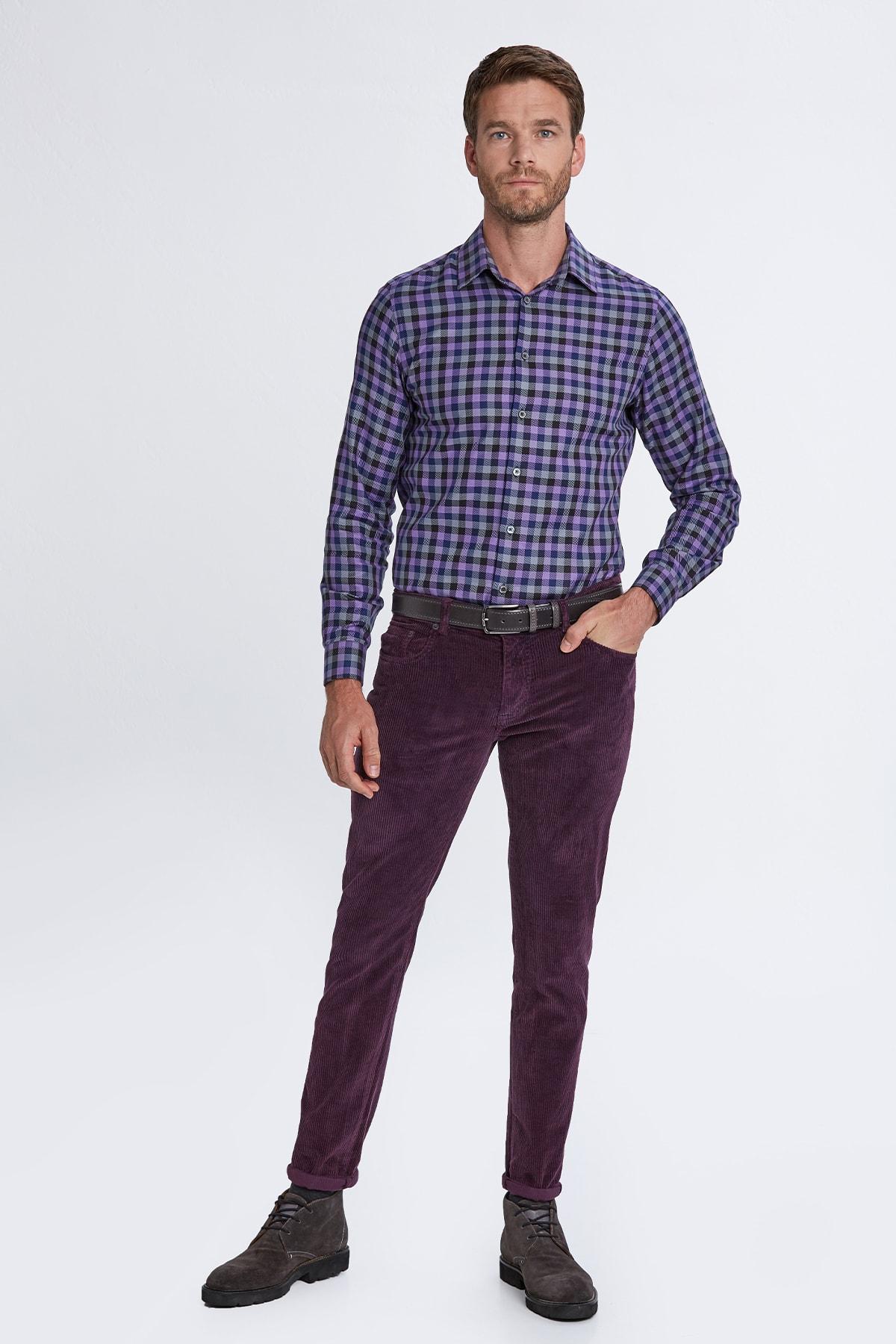 Hemington Erkek Koyu Mor Slim Fit Kadife Pantolon 2