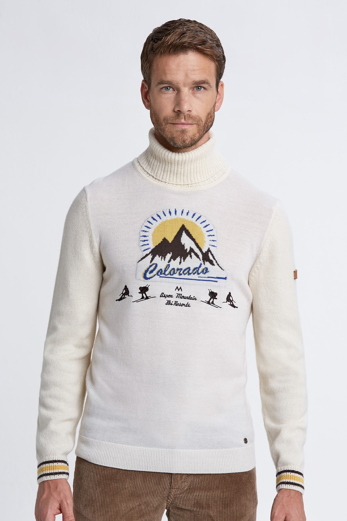 Hemington Erkek Kırık Beyaz Desenli Boğazlı Kaşmir Yün Karışımlı Kazak 1