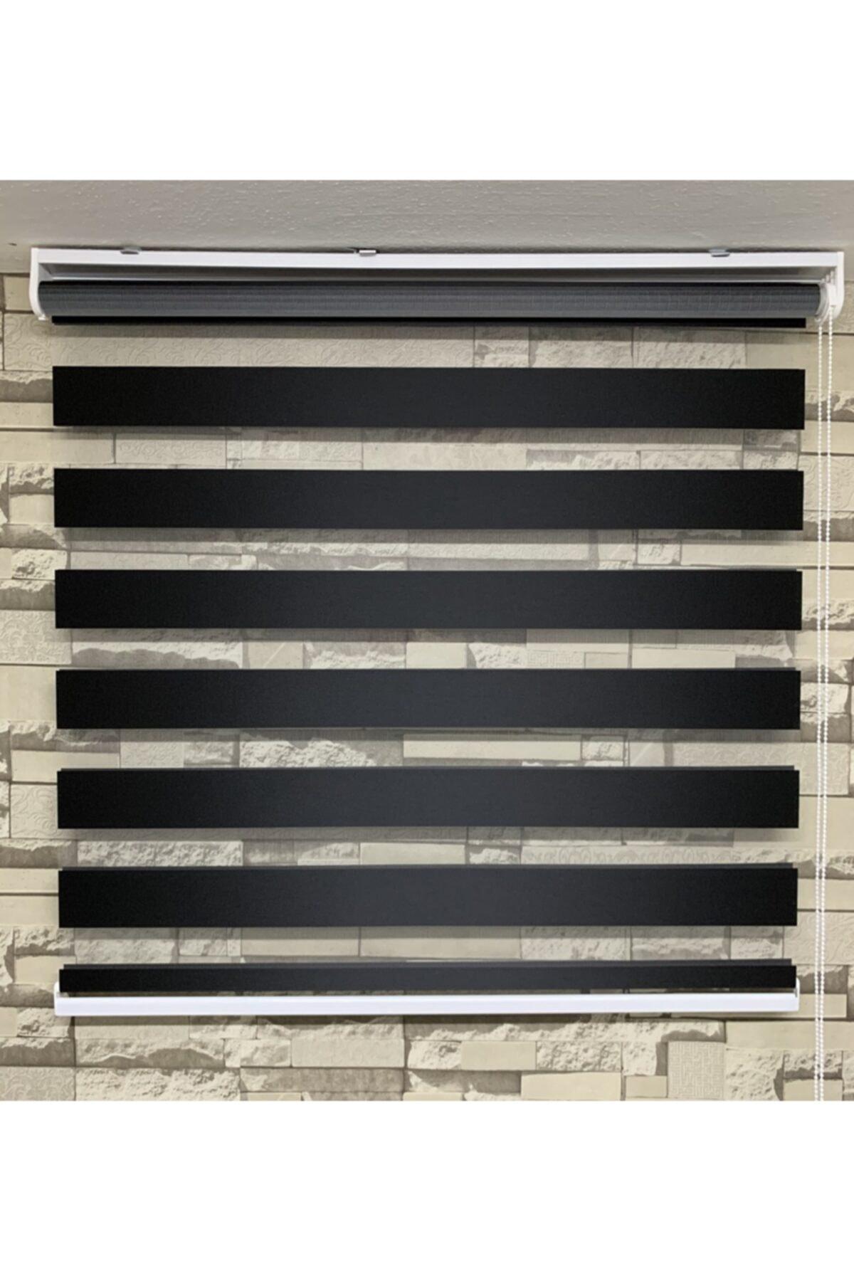 Zebra Siyah Renk Perde (etek Kısmı Düz) 1