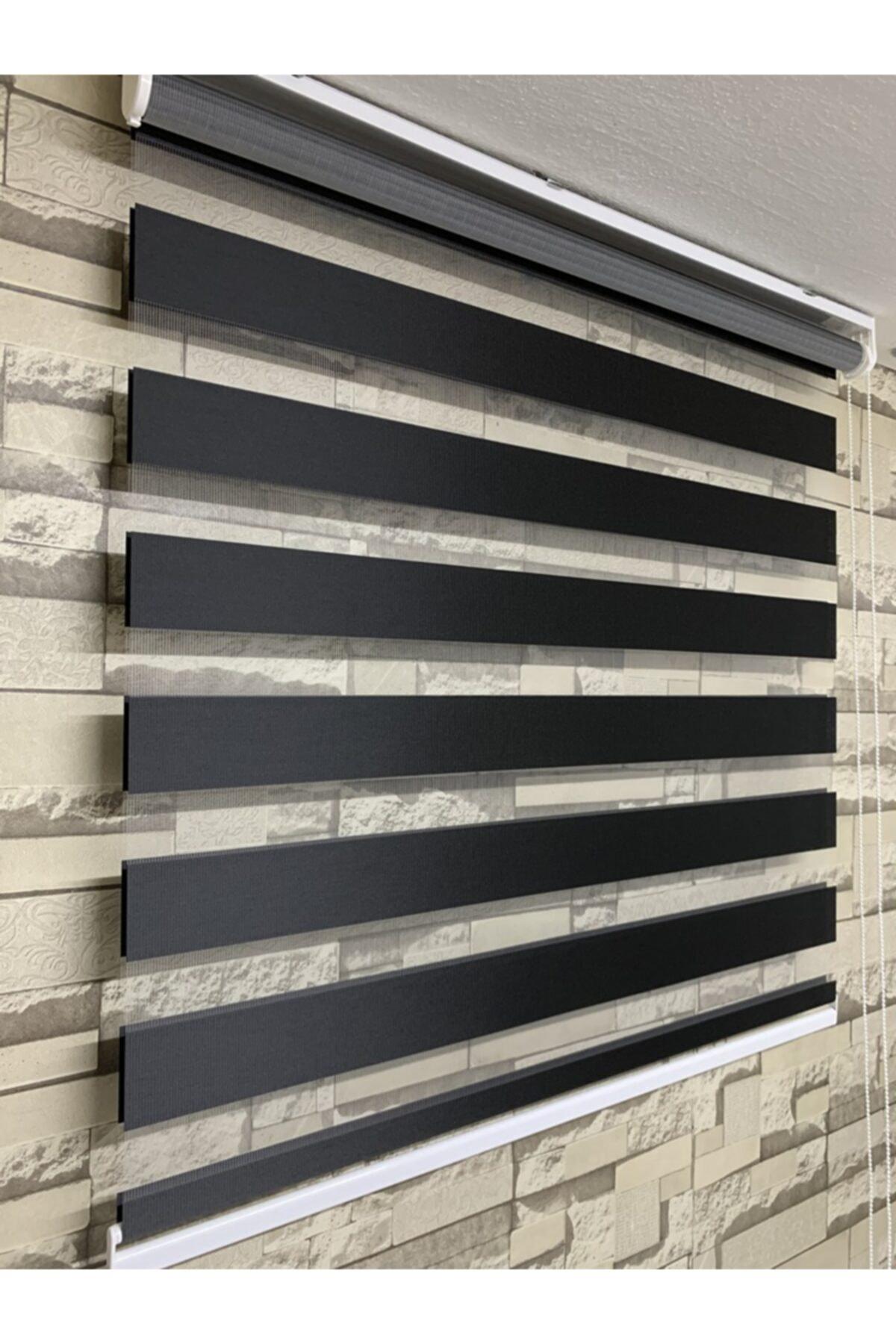 Zebra Siyah Renk Perde (etek Kısmı Düz) 2