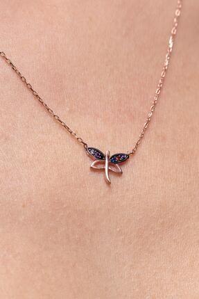 Ninova Silver Kadın Mix Taşlı Kelebek Model Gümüş Kolye