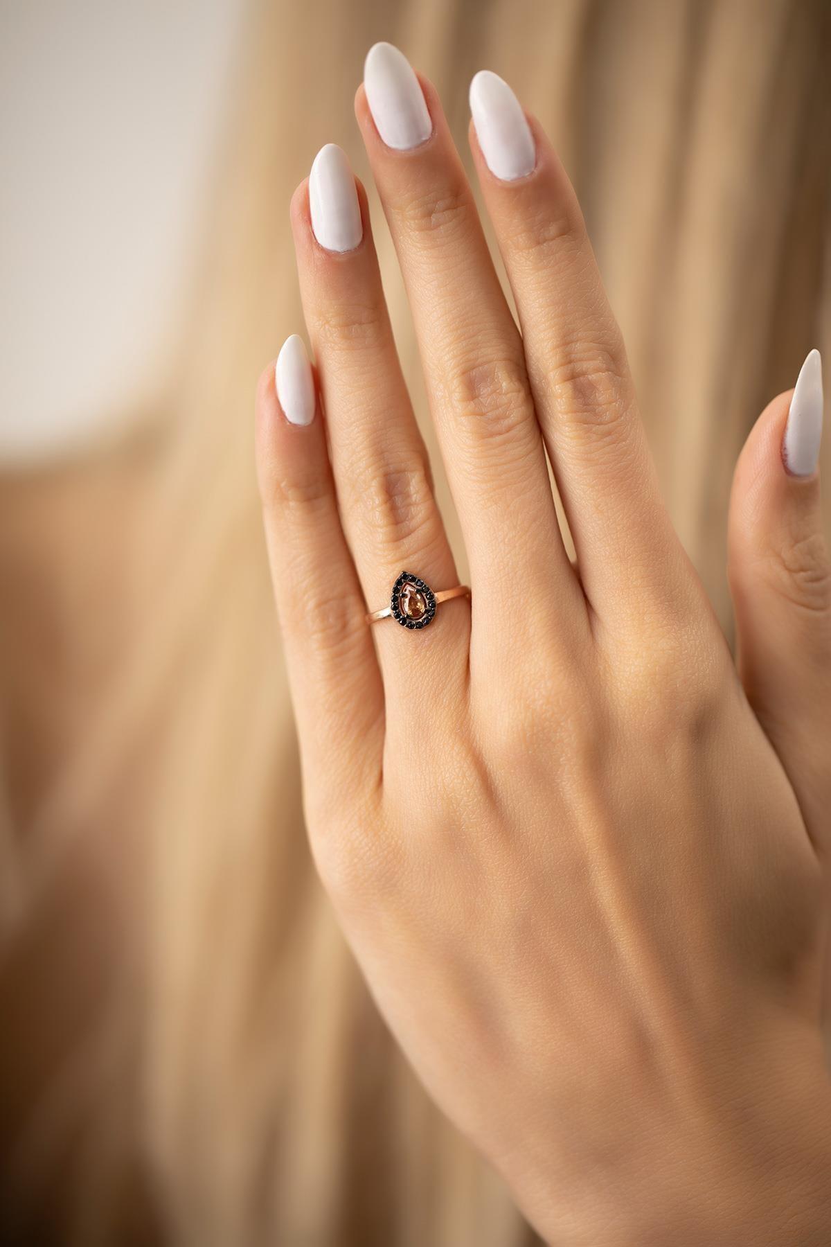 İzla Design Kadın Damla Model Sitrin Taşlı Rose Kaplama Gümüş İtalyan Yüzük 2