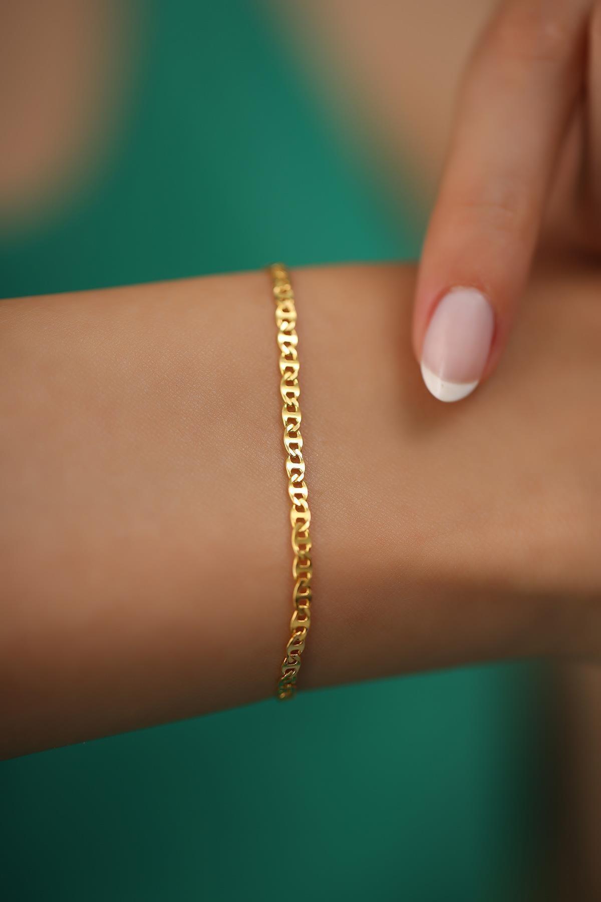İzla Design Kadın Ezme Barlı Model Altın Kaplama Gümüş İtalyan Bileklik 1