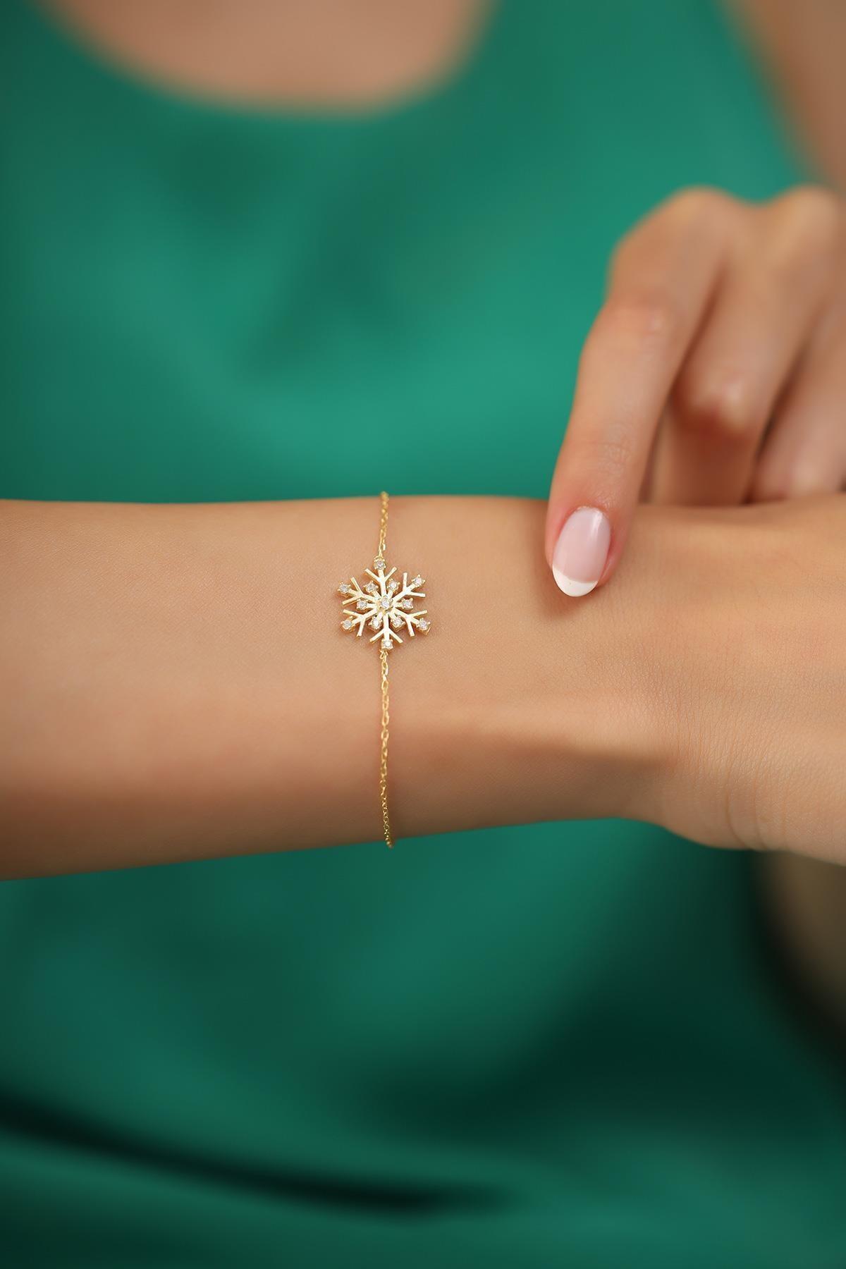 İzla Design Kadın Kar Tanesi Model Altın Kaplama Gümüş İtalyan Bileklik 1