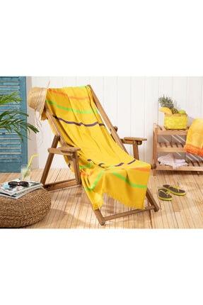 English Home Sarı Thin Stripe Pamuklu Plaj Havlusu 80x150 cm