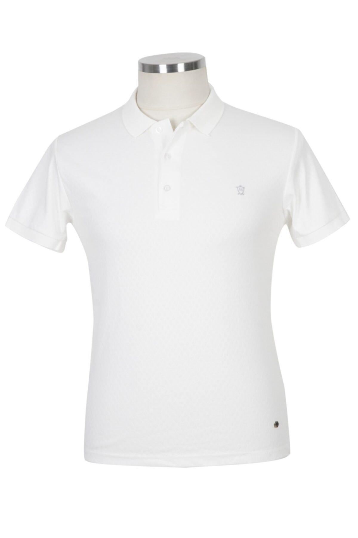 BLU Erkek Beyaz Polo Yaka T-shirt 1