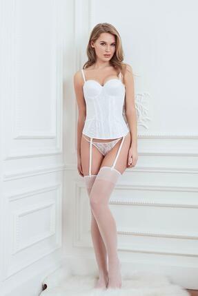 Anıl Lingerie Kadın Beyaz Büstiyer String Çorap Takım AN5575