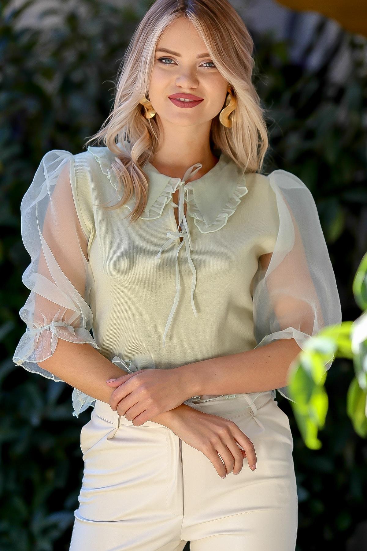 Chiccy Kadın Su Yeşili Organze Yaka Ve Balon Kol Detaylı Bağlamalı Bluz M10010200BL95752