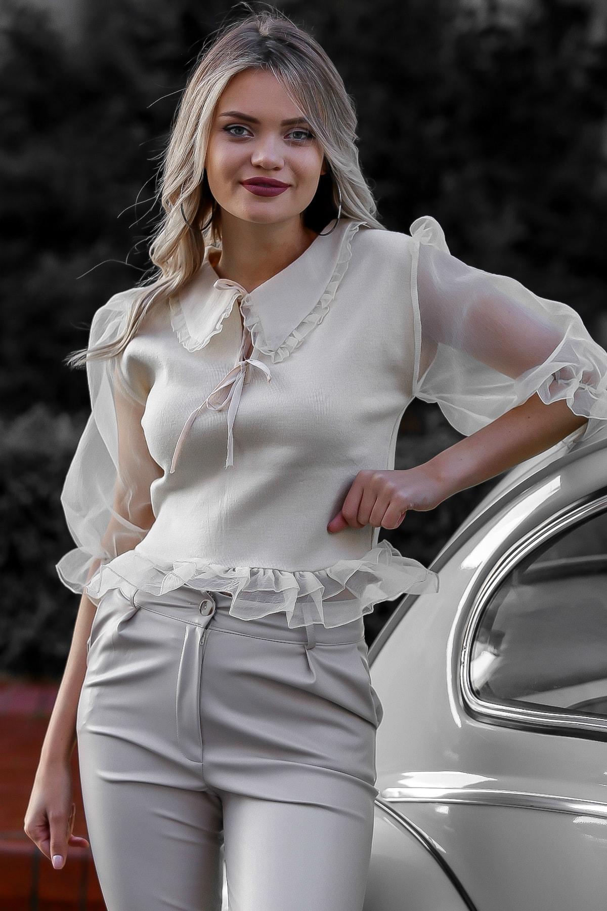Chiccy Kadın Ekru Organze Yaka Ve Balon Kol Detaylı Bağlamalı Bluz M10010200BL95752