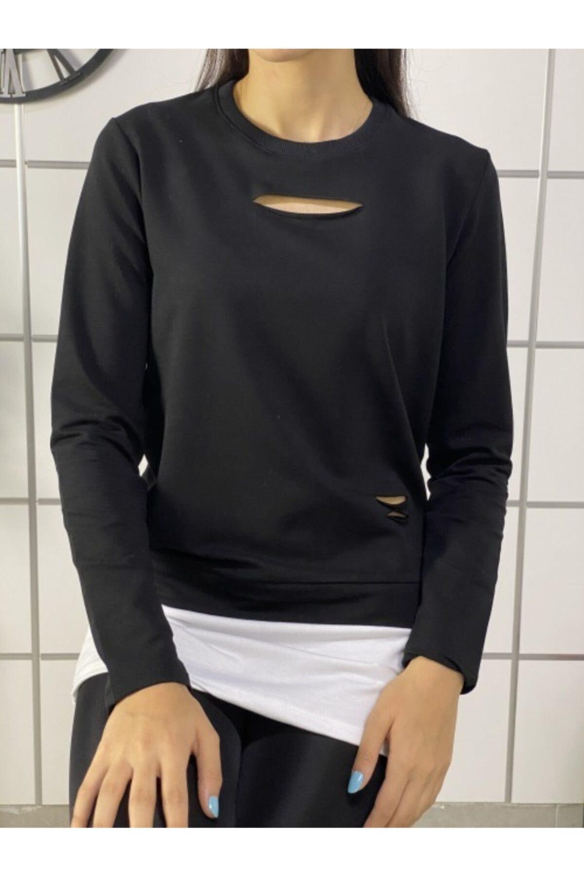 ELBİSENN Kadın Siyah Eteği T-Shirt Görünümlü Tasarım Sweatshirt 1
