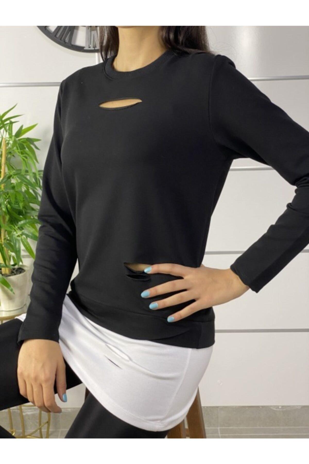 ELBİSENN Kadın Siyah Eteği T-Shirt Görünümlü Tasarım Sweatshirt 2