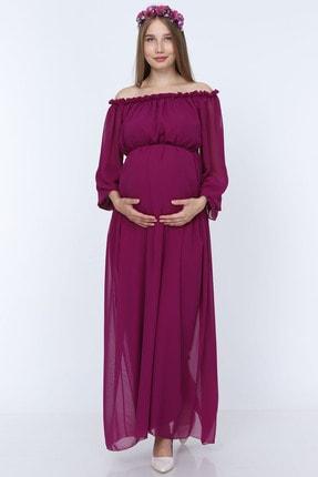 Moda Labio Mor Dökümlü Hamile Elbisesi