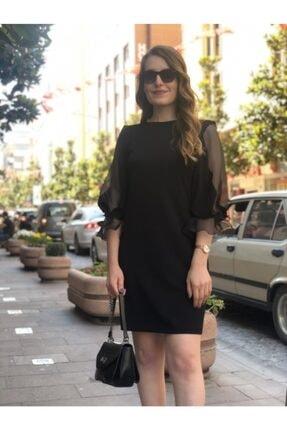 AYHAN Siyah Organze Kol Detaylı Abiye Kadın Elbise