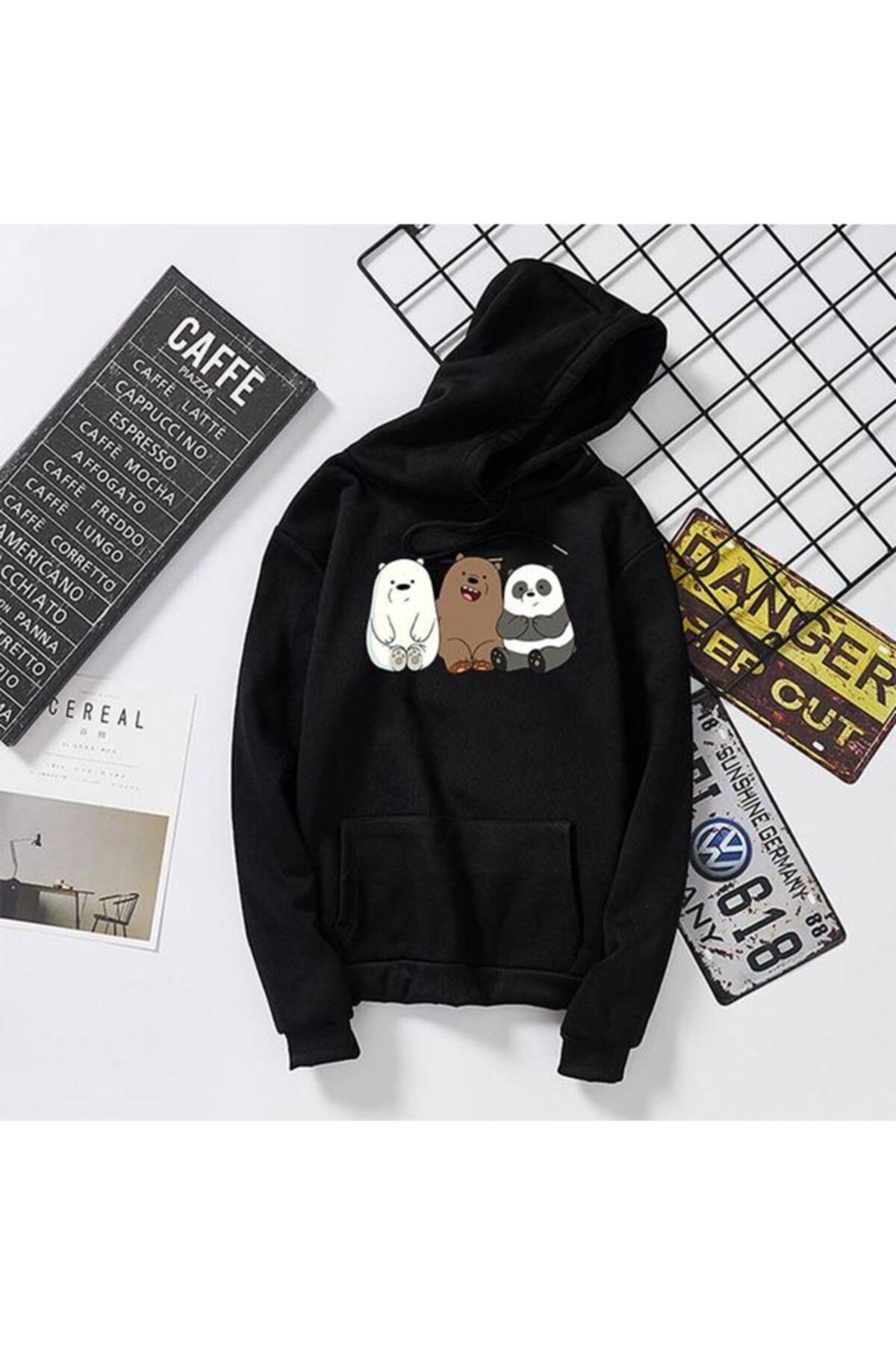 CK Store Kadın Siyah Kafadar Ayılar Kapüşonlu Sweatshirt 1