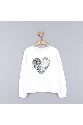 NK Kız Çocuk Kalpli Soul Yazılı Beyaz Sweatshirt