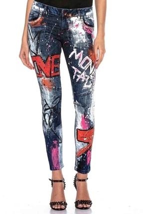 Cipo&Baxx Kadın Mavi Elle Boyanmış Grafiti Desenli Kot Pantolon