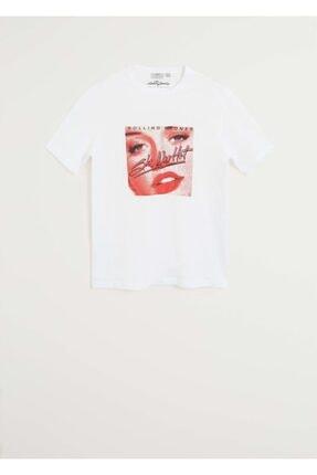 MANGO Man Erkek Beyaz Rolling Stones Tişört  67024764