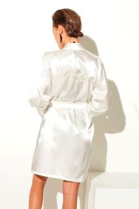 Deep Sleep Kadın Beyaz Krem Pudra Bride Yazılı Sabahlık