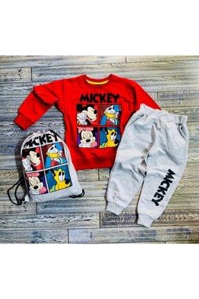 Bobo Unisex Çocuk Kırmızı Özgürcebebe Çantalı Mickey 3'lü Eşofman Takımı