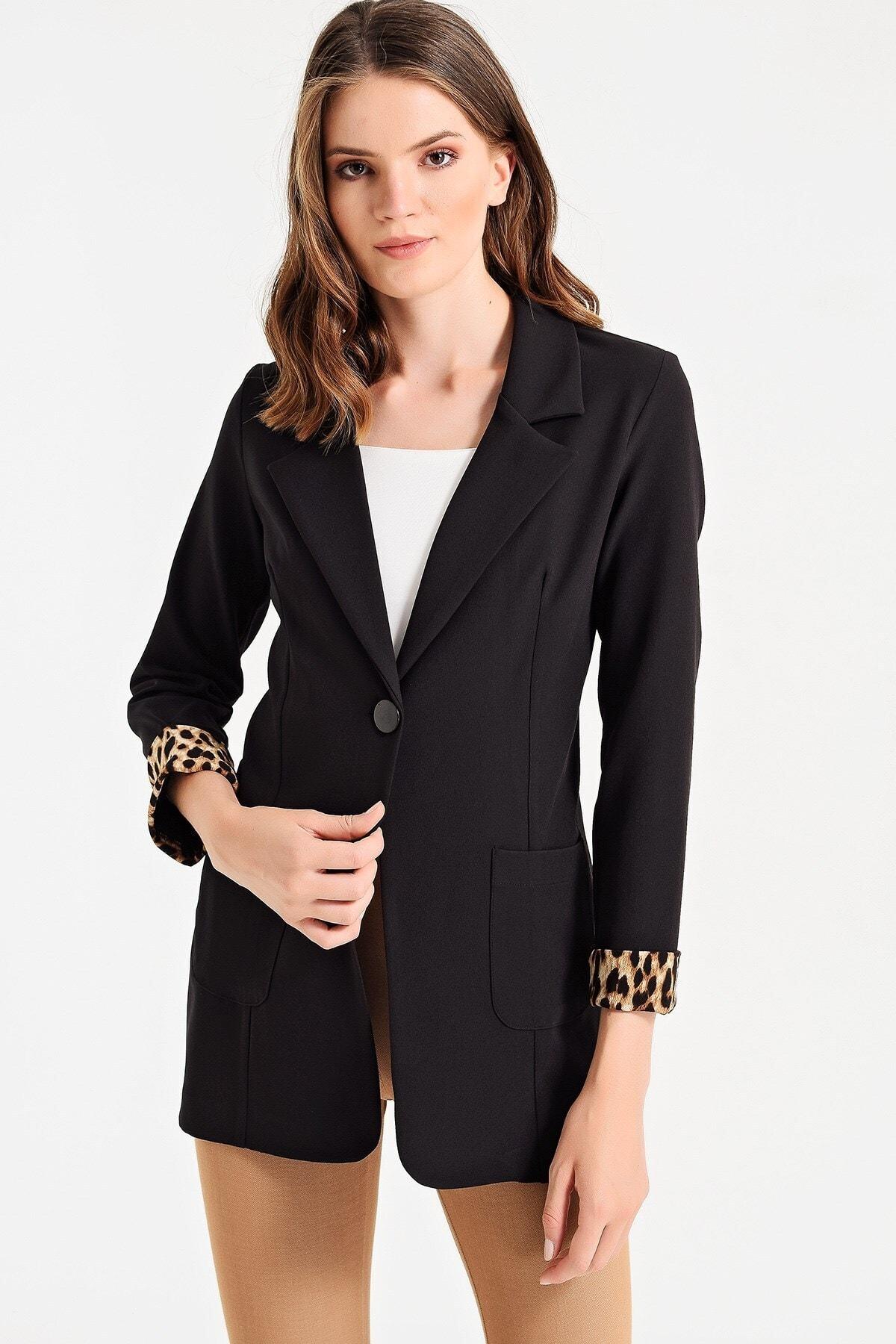 Jument Kadın Siyah Yakalı Cepli Uzun Kol Katlamalı Ceket 37000 1