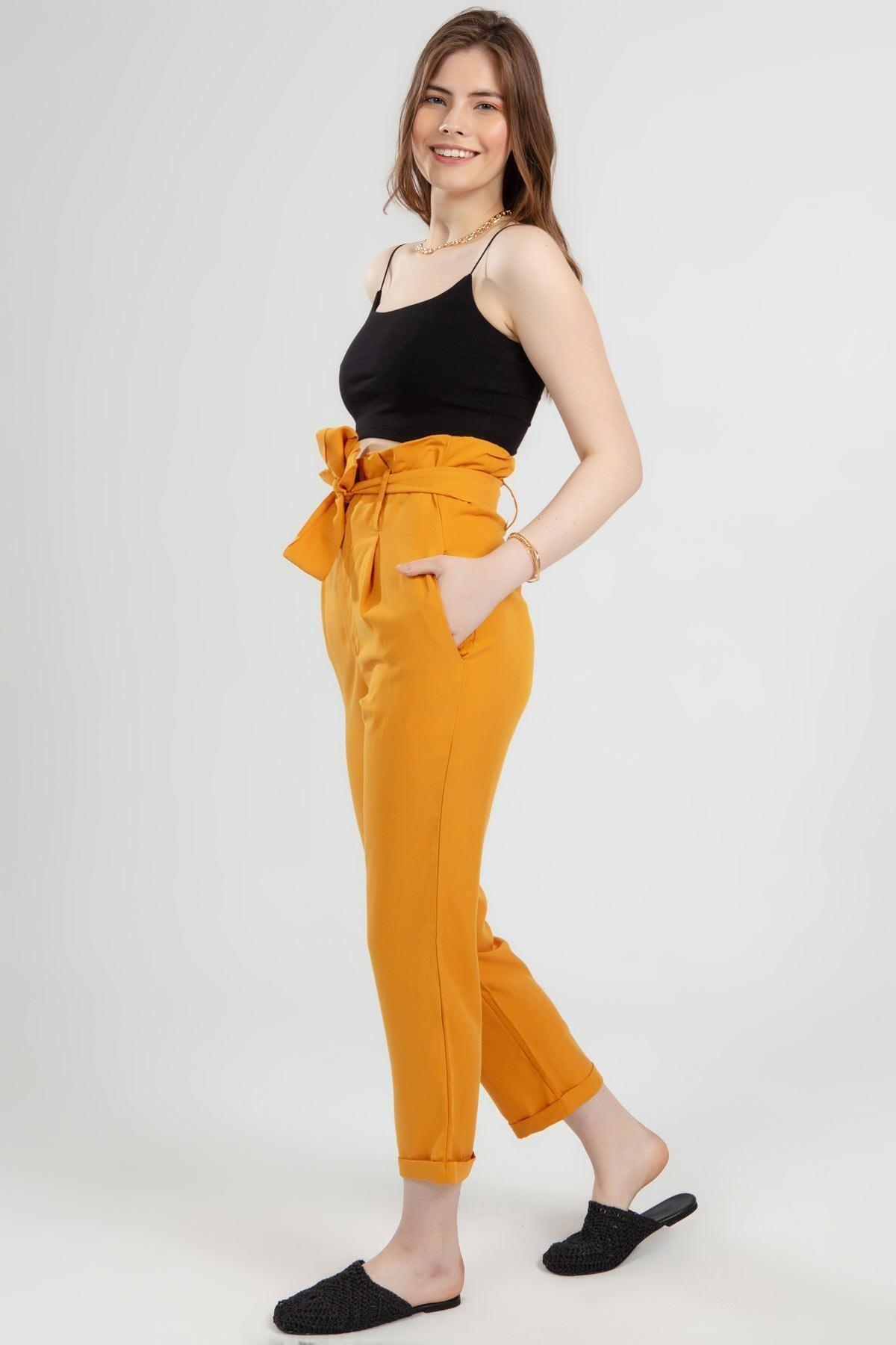 Y-London Kadın Sarı Belden Bağlamalı Duble Paça Yüksek Bel Pantolon 2