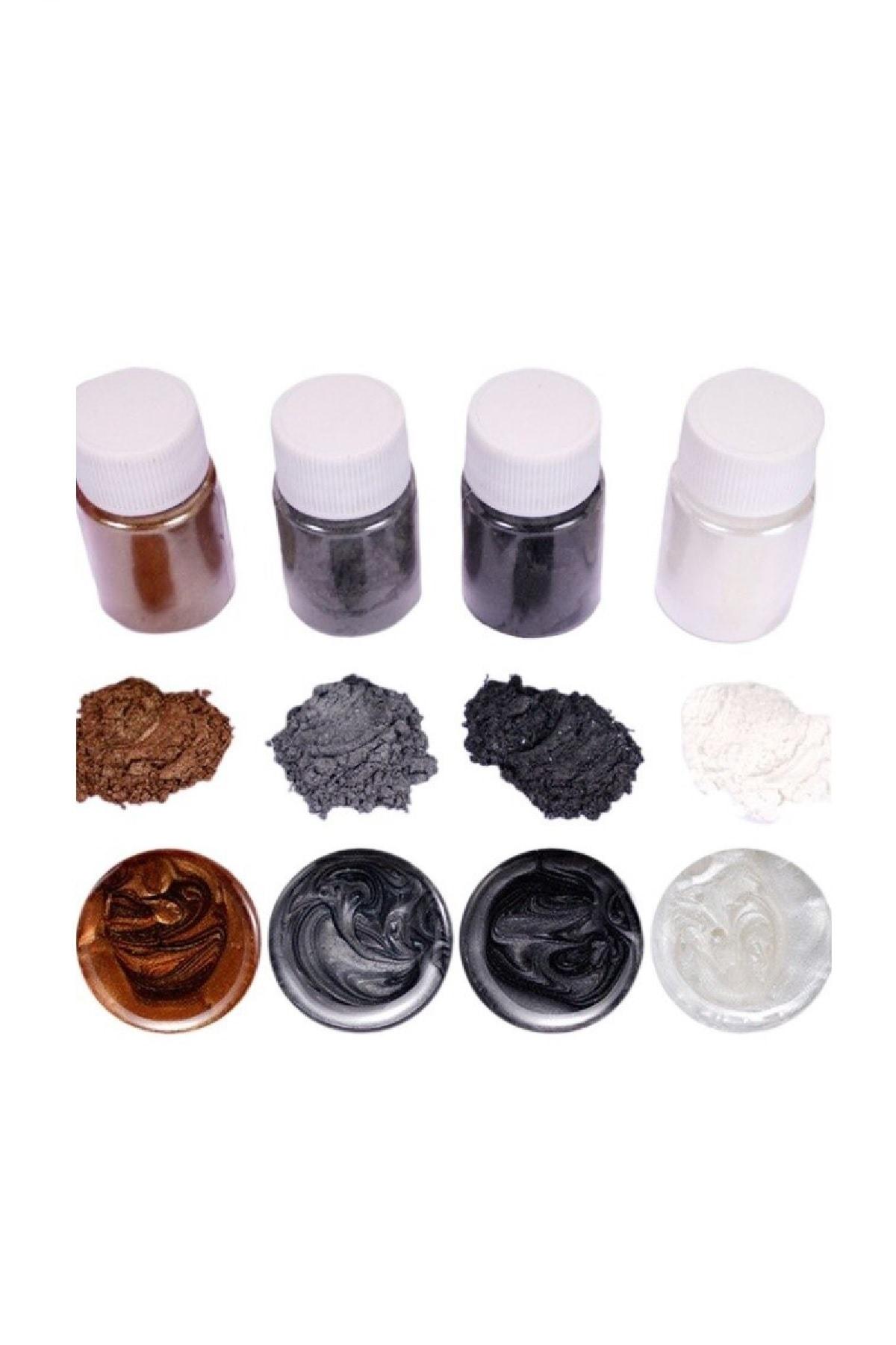 Brtr Kimya 4 Renk Siyah Sedefli Epoksi Metalik Toz Pigment Seti 1