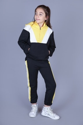 Toontoy Kız Çocuk Sarı Garnili Eşofman Takım