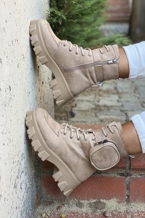 İnan Ayakkabı Kadın Bej Yan Tarafından Cep Detaylı Fermuarlı Bot