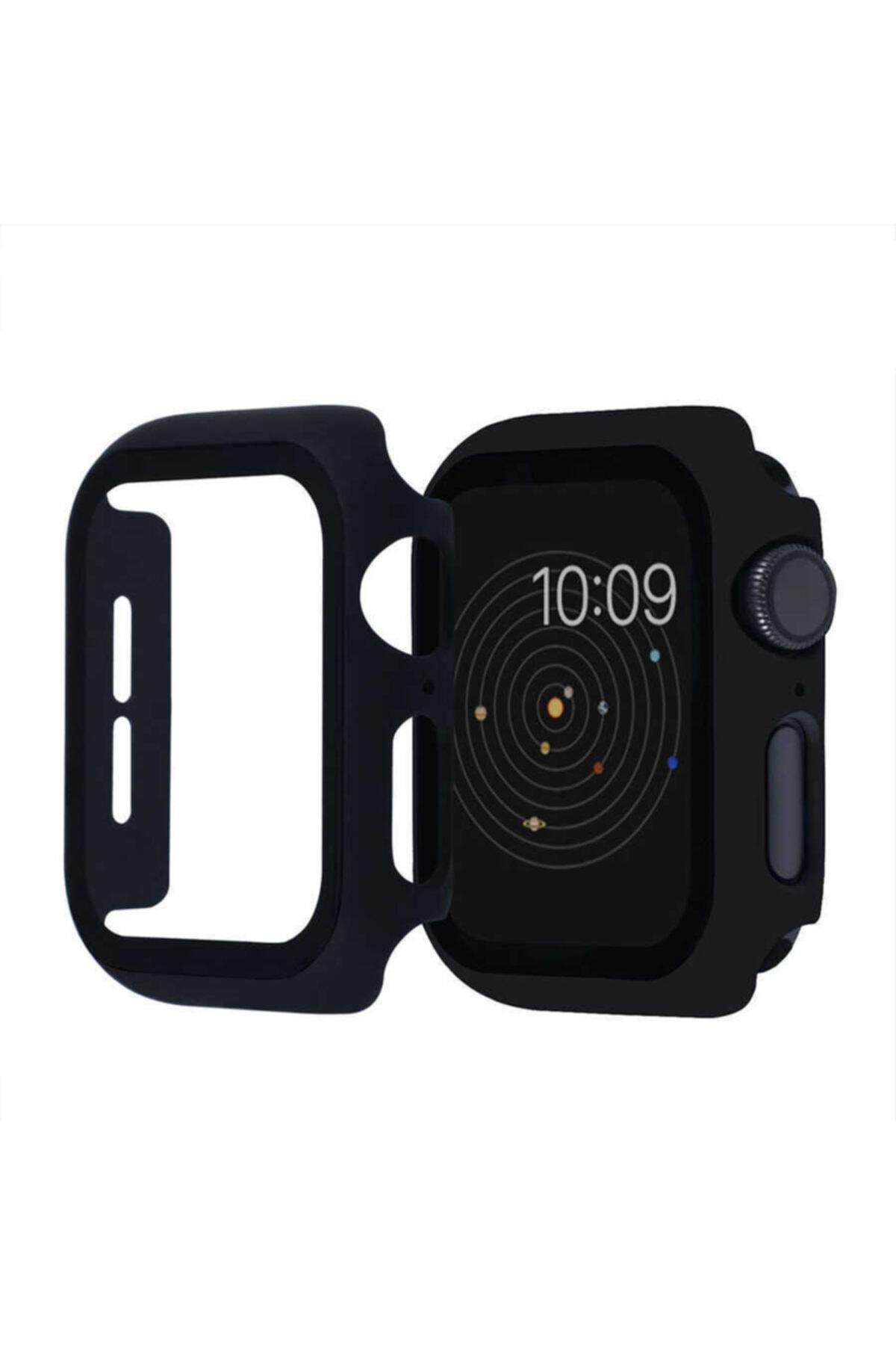Nezih Case Kasa Ve Ekran Koruyucu Apple Watch Seri 6 44mm Akıllı Saat Için Siyah 1