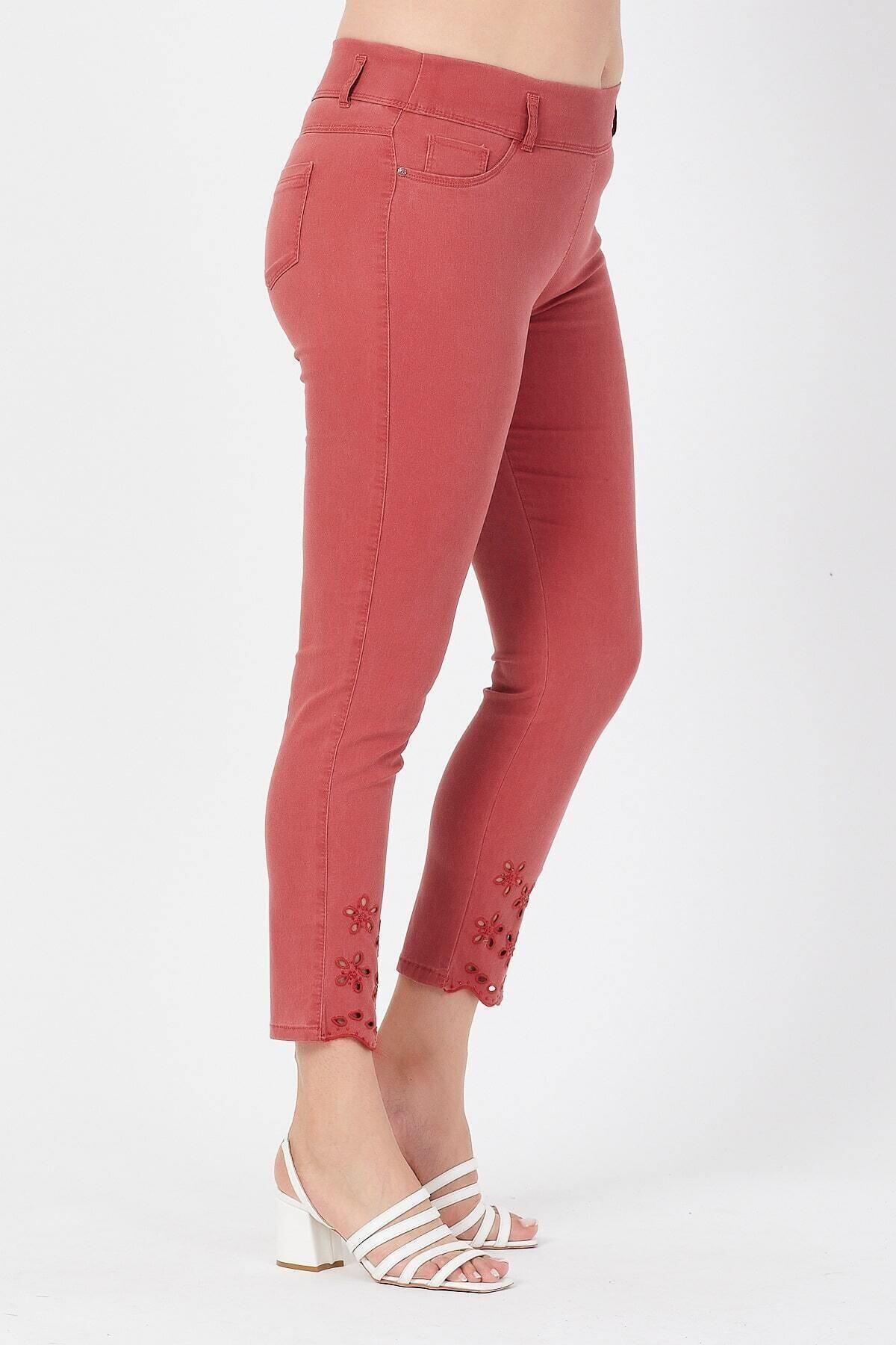 Siyezen Kadın Turuncu Büyük Beden Paçası Nakışlı Toparlayıcı Pantolon 2