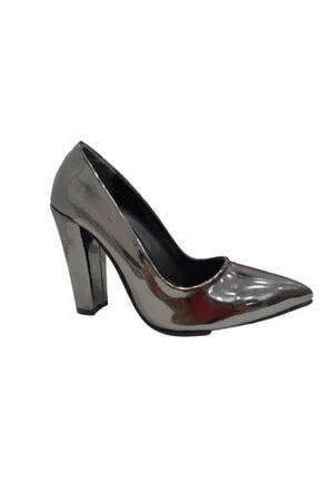 Beyonce Kadın Gümüş Rugan Kalın Topuk Ayakkabı