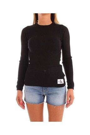 Calvin Klein Kadın Siyah Rıb Sılk Blend Sweater