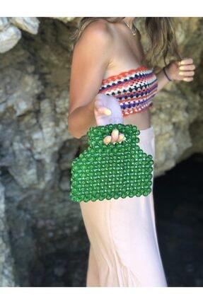 Hane Atölye Kadın Yeşil Parlak Boncuklu El Çantası
